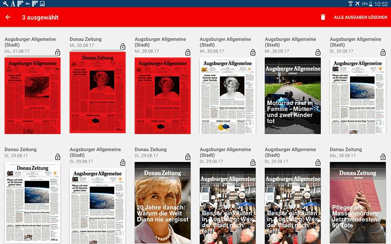 Bild zeigt die Android e-Paper Übersichtsseite, in der aufgezeigt wird, wie man Ausgaben löschen kann