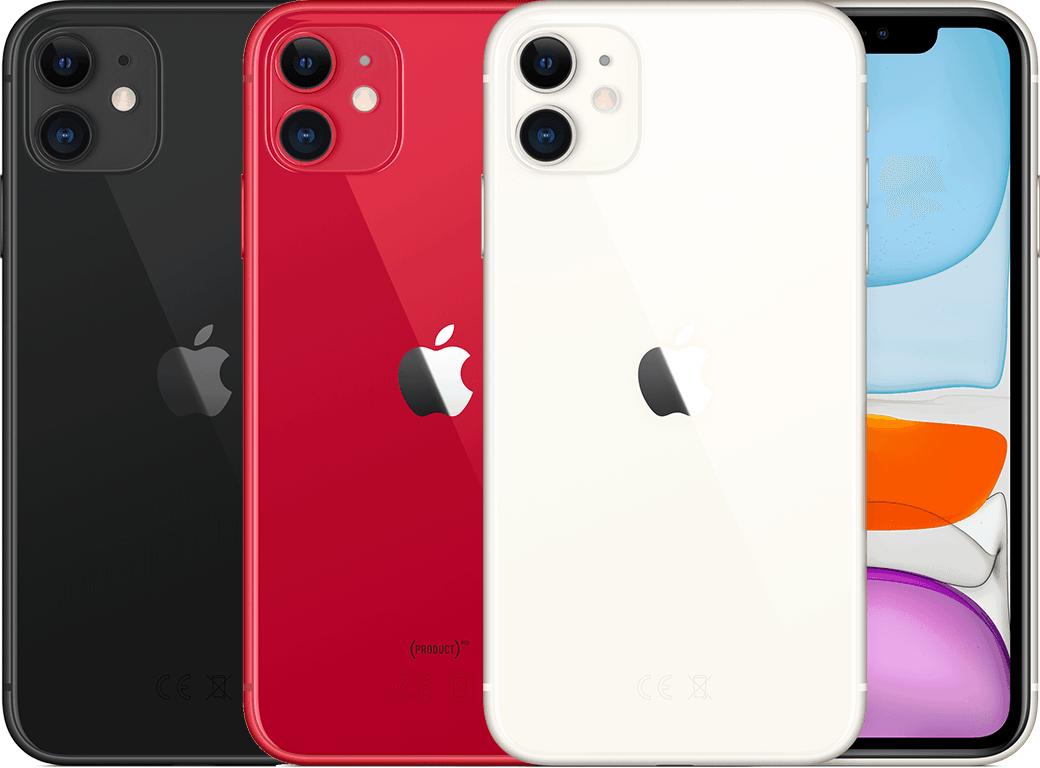 Das iPhone 11 gibt es in Schwarz, Rot und Weiß