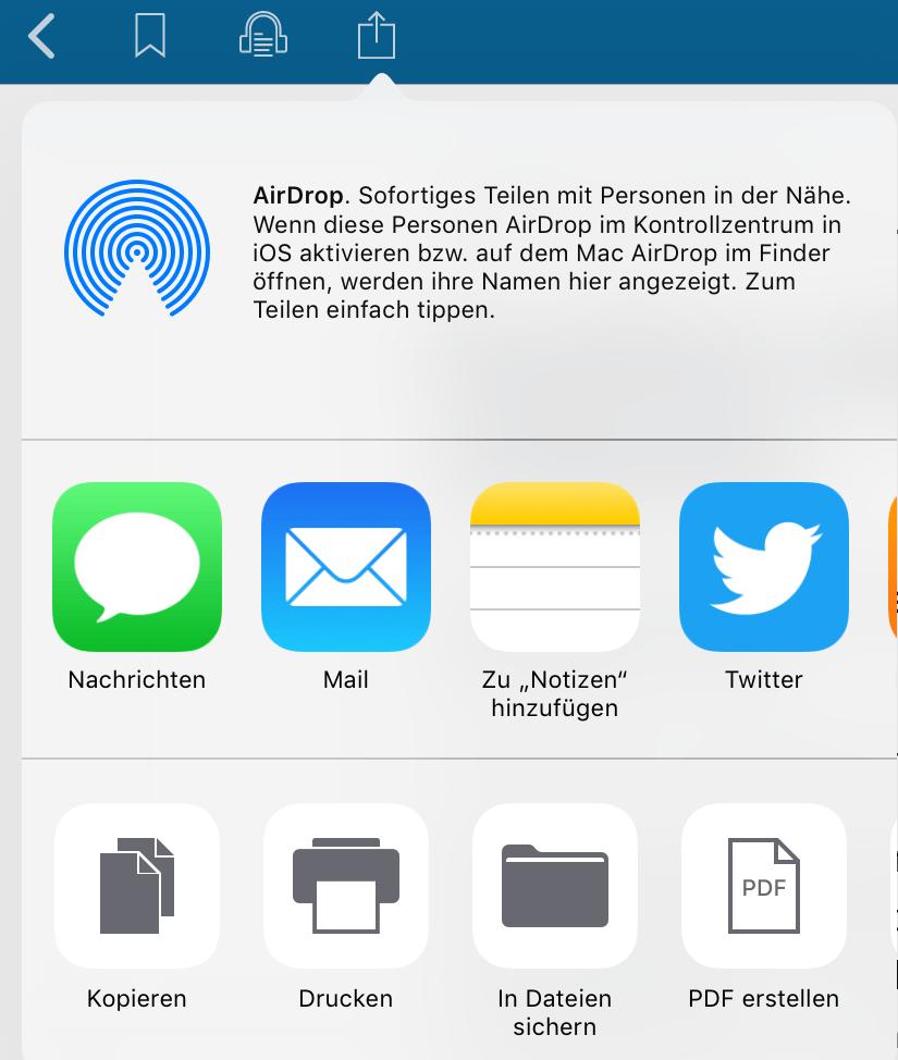 Bild zeigt die Funktionsleiste in der iOS App, in der man einen Artikel teilen bzw. per E-mail versenden kann
